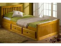 Kids single captains bed with mattress