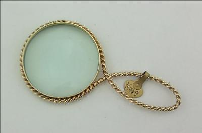 SUPERB VINTAGE 9CT GOLD  GLASS, MAGNIFYING GLASS