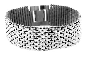 Stainless Steel Men's 11 Row Textured & Polished Bracelet, 8.5