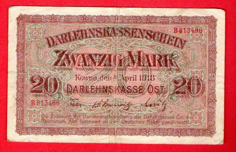 GERMANY OCCUPATION OF LITHUANIA WWl KOWNO 20 MARK 1918 P. R131  667