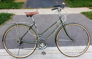 ROAD BIKE FOR SALE 19-FRAME 27-TIRES 12-SPEED GREEN FENDERS