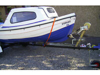 FISHING BOAT.....ORKNEY SPINNER . 13 FT.... COMPLETE WITH 6 HP.. 4 STROKE MERCURY ENGINE & TRAILER.