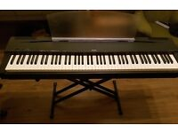 Yamaha P70 Digital Piano, stand and custom flight case
