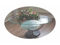 CLEAR GLASS COFFEE STYLISH TABLE WITH FLOWERS