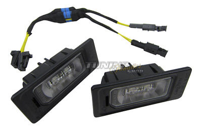 2x Original VW LED License Plate Light+Canbus Connection Adapter Cable # Front