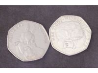 Set of two 50p Coins: Beatrix Potter Squirrel Nutkin + Mrs Tiggy Winkle