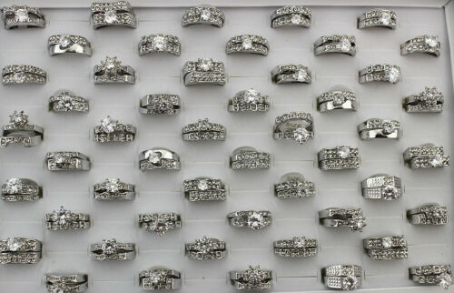 35Set Rhinestone Jewelry Wholesale Mixed Lots Clear Cubic Zirconia Wedding Rings