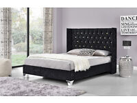 NEW King Black/Double Silver Crushed Velvet bed