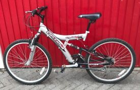 Mountain bike with suspension 18 inch frame