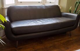 Gorgeous three-seater designer Jonah sofa from Made, ale brown premium leather