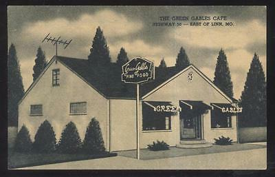 Postcard Linn Missouri Mo  Green Gables Roadside Cafe Restaurant View 1930S
