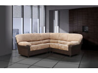 3+2 or corner sofa in black and grey or brown and beigh nice soft fabric 364ABEC