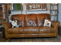 Vintage Leather 3 Seater Sofa Studs Brown Wooden Castor Legs
