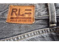 Authentic Polo Ralph Lauren Denim Jeans Straight Leg Grey Wash W32 L30 Vintage