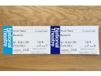 2 x Macbeth tickets 730pm, 28/04, The National Theatre