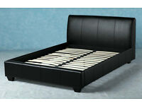 Black leather double sized bed frame