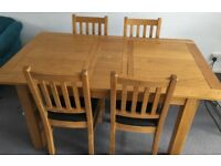Solid Oak and Oak Veneer extendable dining table with 6 chairs (Brookes range)