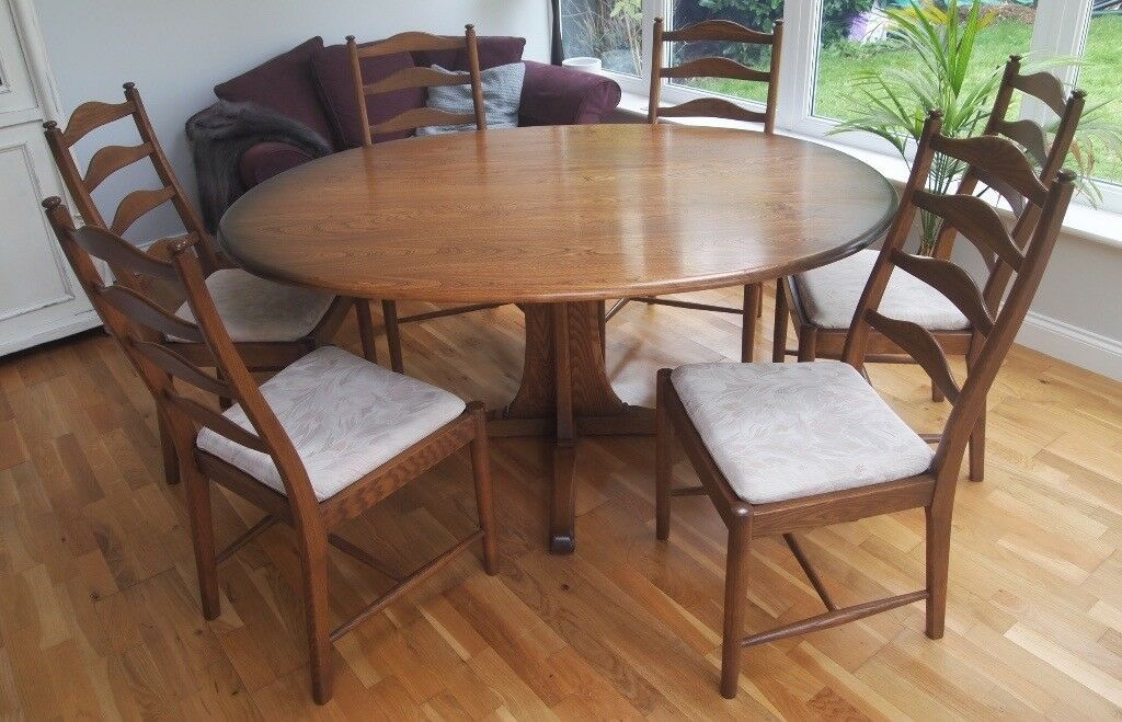 Ercol Oval Pedestal Dining Table 6 Ladder Back Chairs