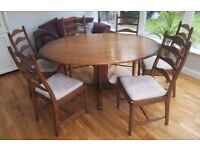 ERCOL Oval Pedestal Dining Table & 6 Ladder Back Chairs