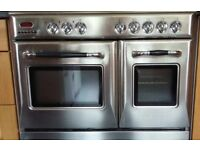 Dual fuel 90cm range cooker for spares or repairs. 5 Gas burner with 2 electric ovens one fan assist
