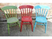 Three Hand Painted Stenciled Farmhouse Chairs Unique Unusual Turquoise, Sage and Crimson