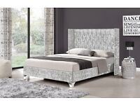 NEW Crushed Velvet bed frame - Two different designs in black or silver - Double / kingsize