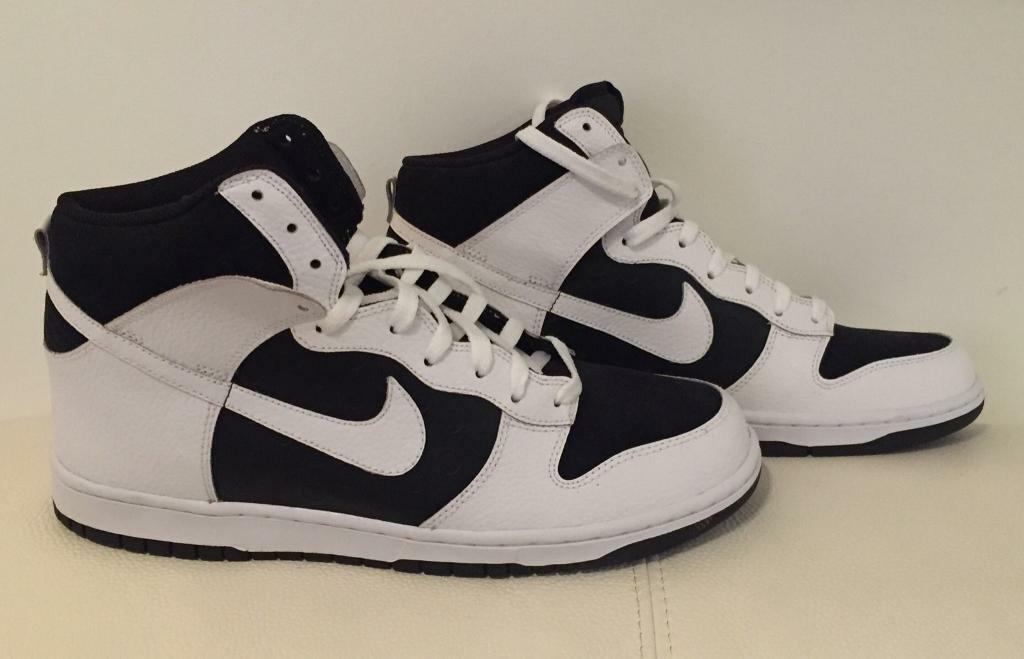 Brand new men's Nike basketball style high top trainers UK 10. Black and White. Mint. No box.