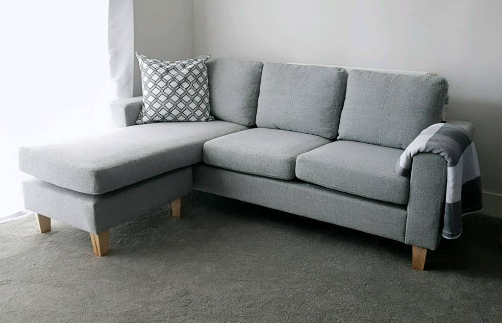 Corner Sofa Light Grey Small 3 Seater With Chaise Like New Home Furniture