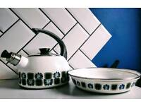 Vintage Stove top enamelware kettle and frying pan made in Austria