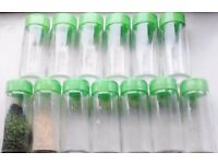 17 New Green Coloured Lid Refillable Clear Glass Spices Herbs Jars.