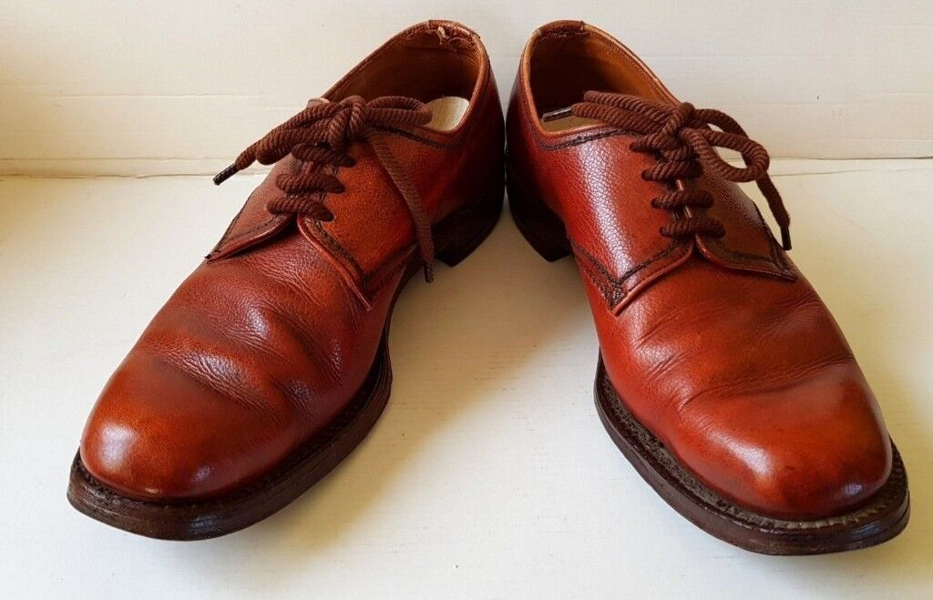 Vintage Saxone Mens Gents All Leather Casual Formal