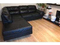 Black Sofa Leather 5 Seater Corner L-Shaped