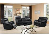 VEGAS LEATHER RECLINER SOFA SUITE, 3+2 SEATER, FREE DELIVERY, CUPHOLDERS AND STORAGE DRAWER