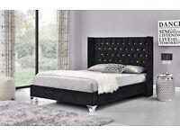 BLACK Double/King Wing back crushed velvet Diamonte bed