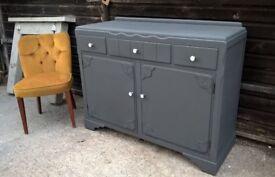 Vintage Oak Sideboard in Lars Contzen Grey *FREE LOCAL DELIVERY* Antique Hallway Dresser Credenza