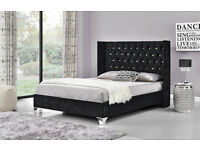 Silver/Black/champagne double/king Crushed Velvet or chenille fabric beds - limited stock