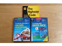 New Driving and Riding Test training DVDs: DVSA Hazard Perception and Biker Pack plus Highway Code