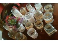 Decorated glass jars for rustic wedding/event table decorations