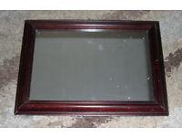 Details about Dark Wood Framed Mirror 15x21ins