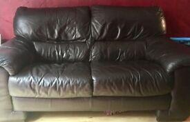Brown Leather Sofa's X2