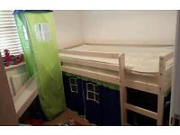 BLUE/GREEN MID SLEEPER SINGLE BED WITH TENT, TUNNEL, TOWER AND SLIDE