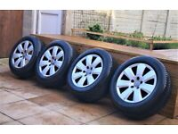 "16""Audi Alloys Wheels & Tyres 255/55/16 6mm M+S (PCD 5x112) VW Skod 4F0601025AJ"