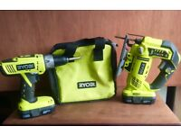 Ryobi cordless jigsaw and combo drill with lithium batteries and carry case