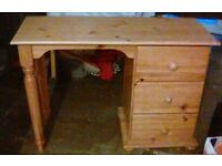 Pine Dressing Table / Desk with Three Draws