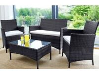 4 Piece Rattan Garden/Outdoor Furniture Set ☀️ 2 Chairs, Sofa, Glass Table + Cushions