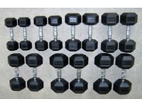 Cheap 1KG - 17.5KG Rubber Hex Dumbbell Set Used - Weights Gym