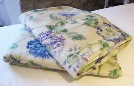 "LAURA ASHLEY Hydrangea Curtains (88"" x 63"") with Two Feather Cushions"