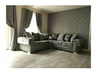 Stylish/Comfortable-VERONA CHESTERFIELD GREY PLUSH FABRIC CORNER SOFA SUITE OR 3+2 SETTEE ON SALE