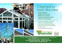 CONSERVATORY CLEANING, GUTTER CLEANING, SOFFIT & FASCIA CLEANING, SOLAR PANEL CLEANING, JET WASHING