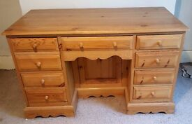 """Stunning Pine Desk/Bureau /Dressing Table with 9 drawers and """"secret"""" cupboard"""